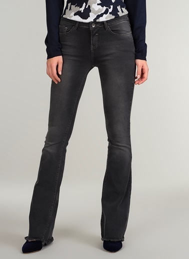 People By Fabrika Flare Fit Jean Pantolon Gri